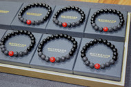 "BOYBEADS ""SOMEBODY LOVES YOU BABY"" LIMITED EDITION VALENTINE'S DAY BLACK ONYX, LAVA, RED CORAL BEAD BRACELET FOR MEN"