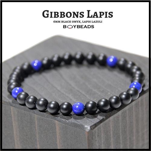 "BOYBEADS ""Gibbons Lapis Lazuli"" Small 6mm matte black onyx + lapis lazuli handmade bracelet"