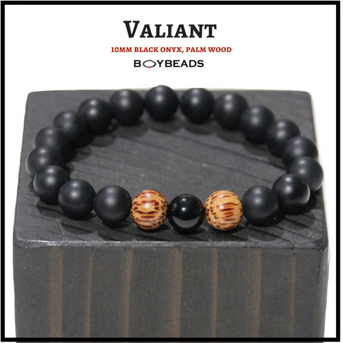 "BOYBEADS ""VALIANT"" matte black onyx + natural wood 10mm stretch bead bracelet for men"
