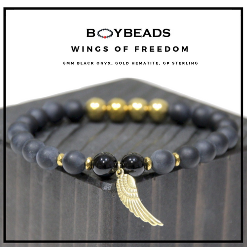"BOYBEADS ""Wings of Freedom"" gold/sterling silver matte black onyx beaded bracelet"