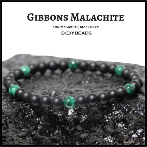 "BOYBEADS ""Gibbons Malachite"" natural green malachite black onyx 6mm bead bracelet"