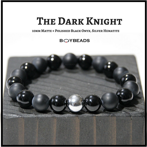 The Dark Knight BOYBEADS Matte + Polished Black Onyx 8mm or 10mm Men's Beaded Bracelet