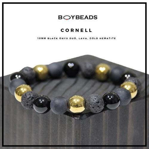 "BOYBEADS ""Cornell"" 10mm Black Onyx, Lava, Gold Hematite Mens Bead Bracelet"