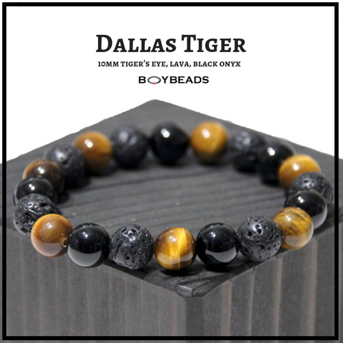 """Dallas Tiger"" BOYBEADS 10mm tiger eye, onyx, lava custom bead bracelet guys"