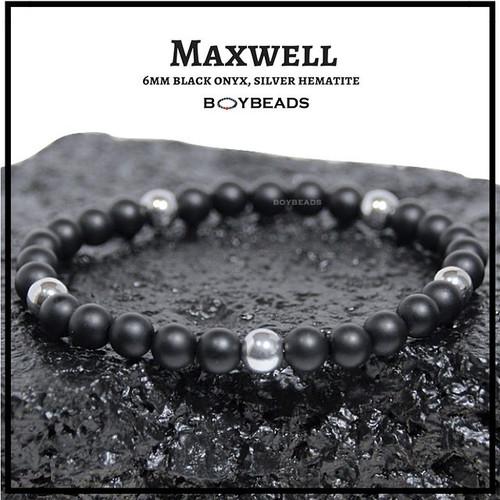 """Maxwell"" Hematite + Matte Black Onyx 6mm natural stone bead bracelet"