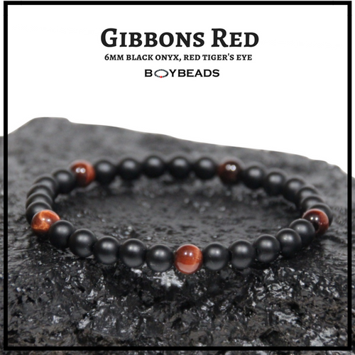 """Gibbons Red"" Red Tiger Eye + Matte Black Onyx 6mm natural stone bead bracelet"