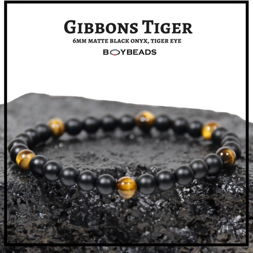 """Gibbons Tiger"" Brown Tiger Eye + Matte Black Onyx 6mm natural stone bead bracelet"