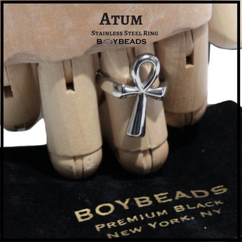 """""""Atum"""" BOYBEADS Mens Custom Stainless Steel Egyptian Ankh Cross Ring Size 9, 10, 11"""