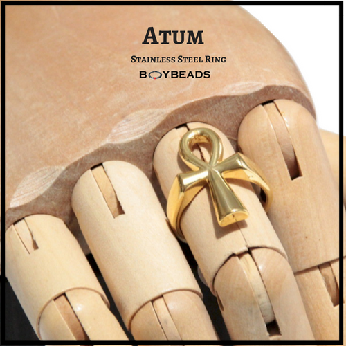 """Atum"" BOYBEADS Mens Custom Stainless Steel Egyptian Ankh Cross Ring Size 9, 10, 11"