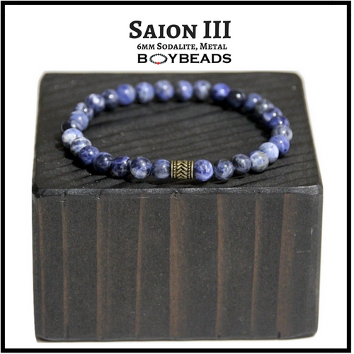 """Saion III"" Sodalite 6mm blue/white natural stone bead bracelet for guys"