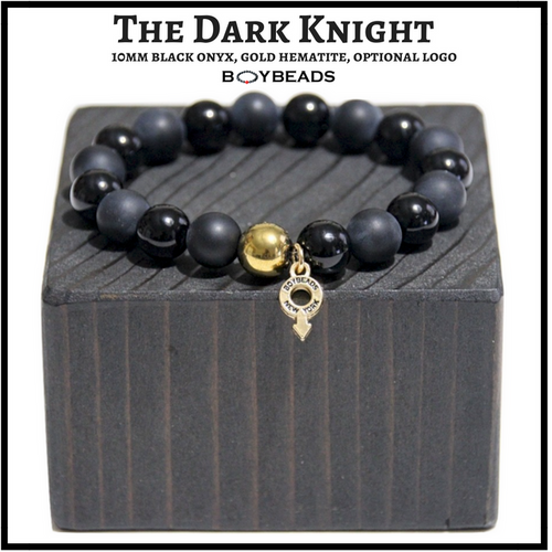 The Dark Knight Gold BOYBEADS Matte + Polished Black Onyx 8mm or 10mm Men's Beaded Bracelet