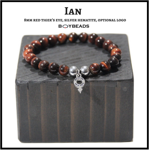 "BOYBEADS ""Ian"" 8mm Red Tiger's Eye, silver hematite bead bracelet for men handmade NYC"