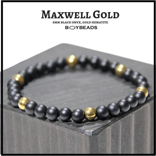 """Maxwell Gold"" BOYBEADS Hematite + Matte Black Onyx 6mm natural stone bead bracelet"