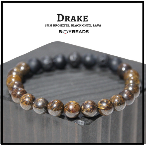 """Drake"" BOYBEADS 8mm bronzite onyx lava handmade beaded bracelet for guys"