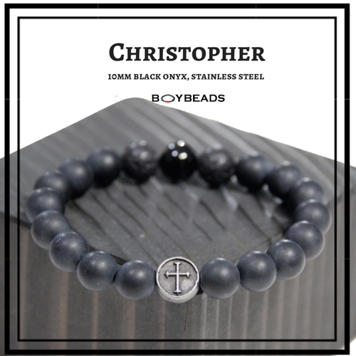 """Christopher"" BOYBEADS 10mm Black Onyx Christian Cross Bracelet for Men NYC"