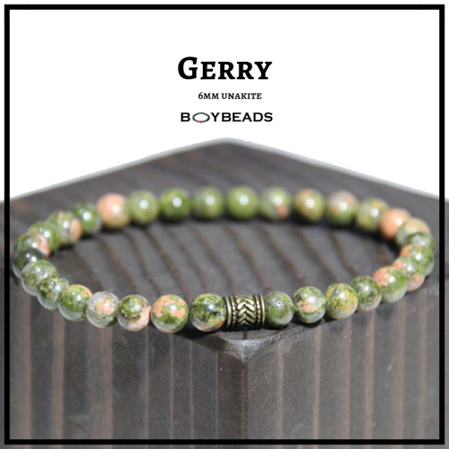 """Gerry"" BOYBEADS 6MM green unakite bead bracelet wristband for guys small beads"