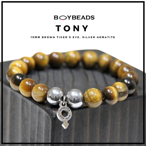 """Tony"" BOYBEADS 8mm or 10MM brown tiger mens natural stone bead bracelet"