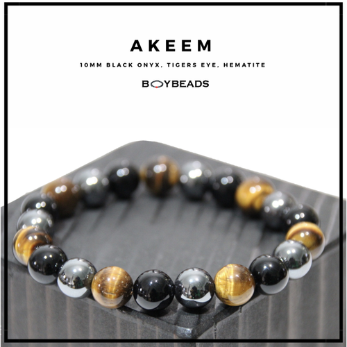 """Akeem"" BOYBEADS Mens Hematite + Brown Tiger's Eye + Black Onyx Stone Beaded Bracelet"
