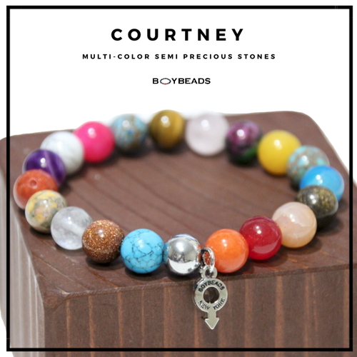 """Courtney"" Gay Pride All-Gender 2019 BOYBEADS 10mm multi-stone Bracelet Gift for All Genders"