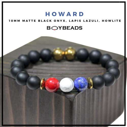 """Old Howard"" BOYBEADS Charity Collection Black Onyx, Lapis Lazuli, Howlite, 10mm Bracelet for Howard University"