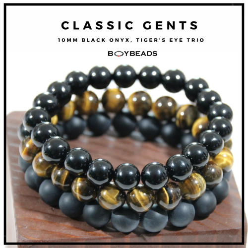 """Classic Gents Trio""  BOYBEADS 10mm beaded bracelet gift set black onyx, tiger's eye wristband gift set for guys"