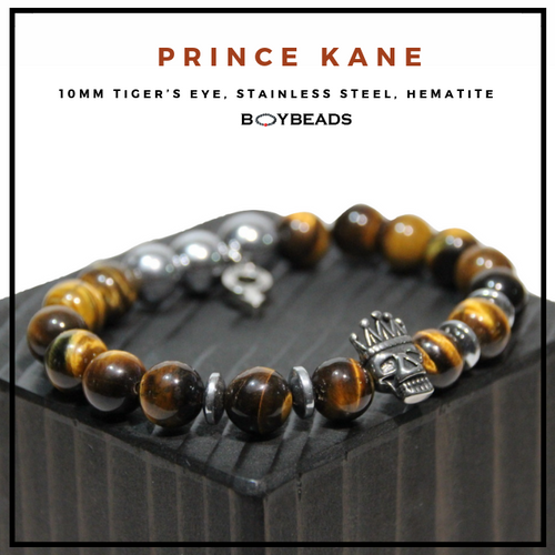"""Prince Kane"" BOYBEADS brown tiger eye Crowned Skull King 10mm mens natural stone bead bracelet"
