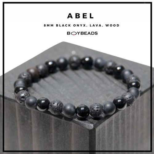 """Abel"" BOYBEADS 8mm Black Onyx + Lava Bracelet for Men NYC"