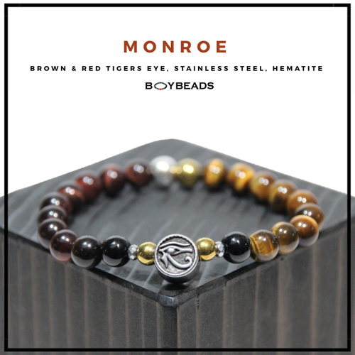 """Monroe"" BOYBEADS brown/red tiger eye Eye of Horus  mens natural stone bead bracelet"