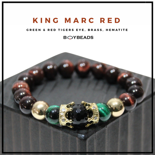 """King Marc Red"" BOYBEADS red tigers eye, black onyx, hematite  brass crown mens natural stone bead bracelet"