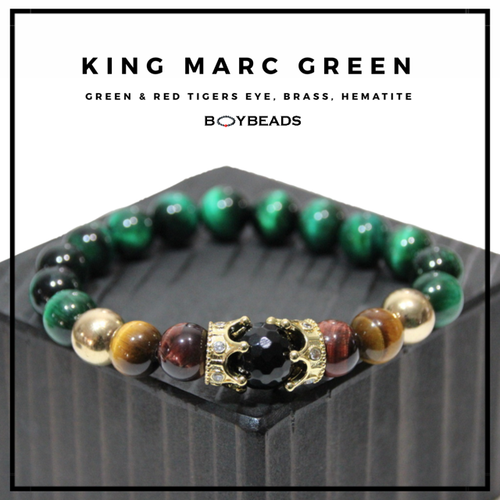 """King Marc Green"" BOYBEADS green tigers eye, hematite  brass crown mens natural stone bead bracelet"
