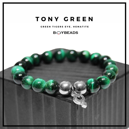 """Tony Green"" BOYBEADS green tiger eye 8mm or 10mm mens natural stone bead bracelet"