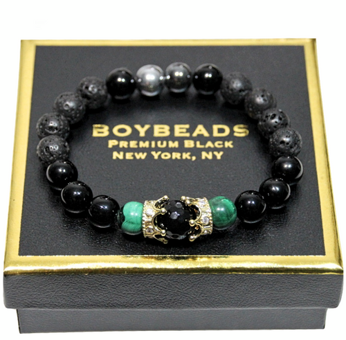 """King Marc Black"" BOYBEADS lava, black onyx, hematite  brass crown mens natural stone bead bracelet"