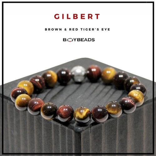 """Gilbert"" BOYBEADS Mens Hematite + Burgundy + Brown Tiger's Eye Stone 8mm or 10mm Beaded Bracelet"