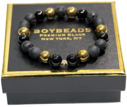 "BOYBEADS ""Prince Cornell"" 10mm Brass Crown Black Onyx, Lava, Gold Hematite Mens Bead Bracelet"