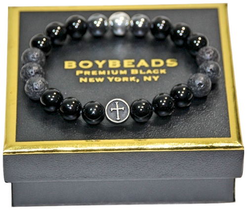 """Gabriel"" 10mm Black Onyx Christian Cross Prayer Beads Beaded Bracelet for Men by BOYBEADS New York"