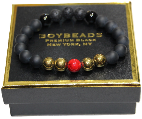 """Cassius Gold"" BOYBEADS  10mm black onyx, red howlite, gold hematite bead bracelet"