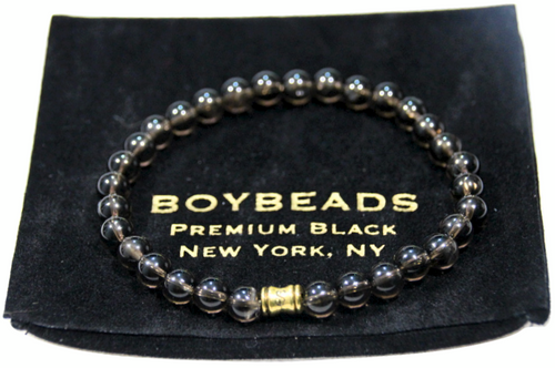 """Samuel"" 6mm Brown Smoky Quartz Beaded Bracelet by BOYBEADS"