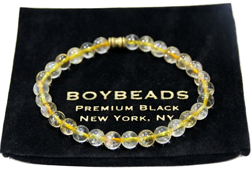 """Cassiano"" 6mm Natural Citrine Beaded Bracelet by BOYBEADS"