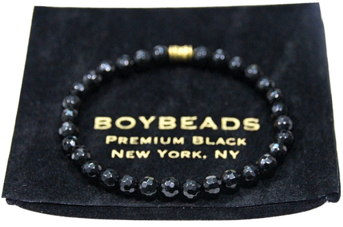 """Octavio"" 6mm Faceted Black Tourmaline Beaded Bracelet by BOYBEADS"