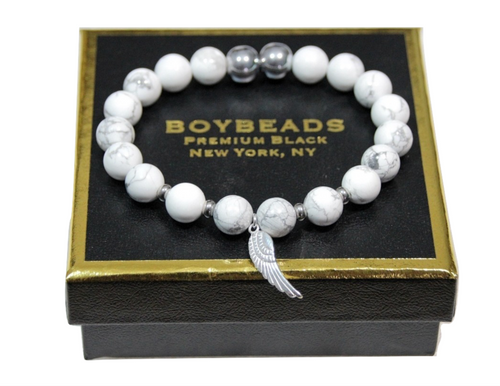 """Wings of Freedom"" White Howlite 10mm guardian angel wing bead bracelet for men"