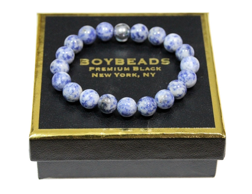 """Saion"" BOYBEADS Blue Brazilian Sodalite 10mm mens bead bracelet natural stone"