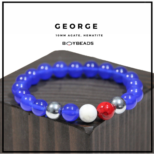 """George Silver"" American Strength- 10mm Blue Agate, White Howite, Hematite Bead Bracelet by BOYBEADS"