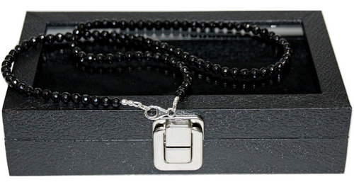 """""""Noire"""" BOYBEADS 6mm Black Tourmaline  Necklace Sterling Silver Handmade Necklace for Him"""