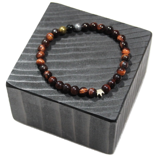 """King Me Red Tiger Eye"" 6mm Faceted Crowned Red Tiger Eye Beaded Bracelet by BOYBEADS"