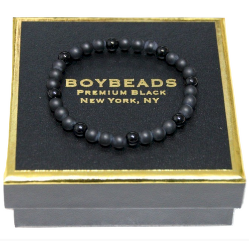 """Gibbons Black Onyx"" 6mm Matte + Polished Black Onyx Beaded Bracelet by BOYBEADS"