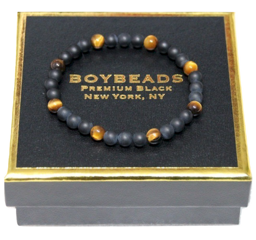 """Gibbons Brown Tiger Eye"" 6mm Matte Black Onyx  Beaded Bracelet by BOYBEADS"