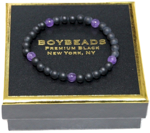 """Gibbons Amethyst"" 6mm Matte Black Onyx  Beaded Bracelet by BOYBEADS"