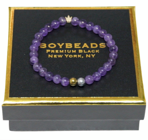 """King Me Amethyst"" 6mm Crowned Purple Amethyst Beaded Bracelet by BOYBEADS"