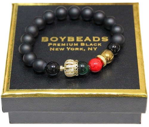 """Abraham Gold"" Juneteenth Charity NMAAHC- Crowned Black Onyx Bead Bracelet for Guys"