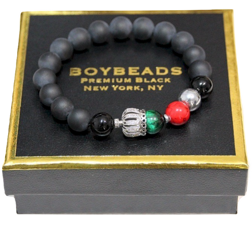 """King Abraham Silver"" Charity NMAAHC- Crowned Black Onyx Bead Bracelet for Guys"